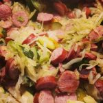 "Quick Campfire Recipe: Fried Sausage and Cabbage ""Hash"""
