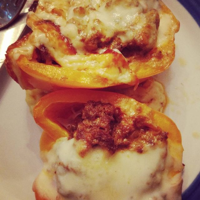Stuffed peppers for dinner tonight Included some tomatoes that neededhellip