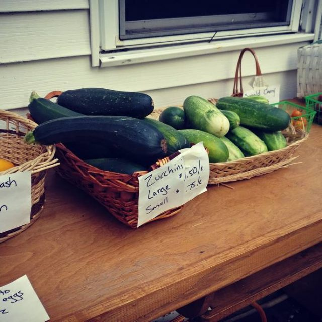 Heirloom Tomatoes yellow squash zucchini cucumbers ready for purchase Andhellip